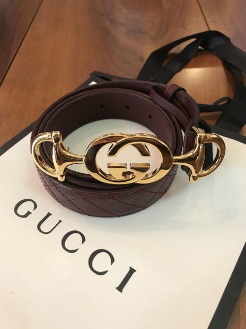 Gucci Cintura Pelle Bordeux