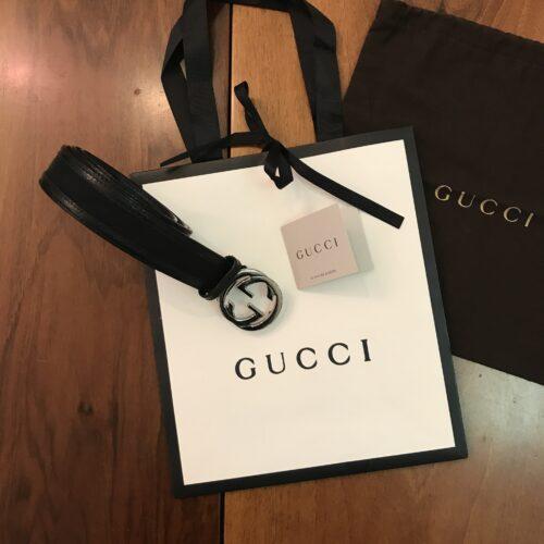 Gucci Cinturina in pelle nera e tela logata