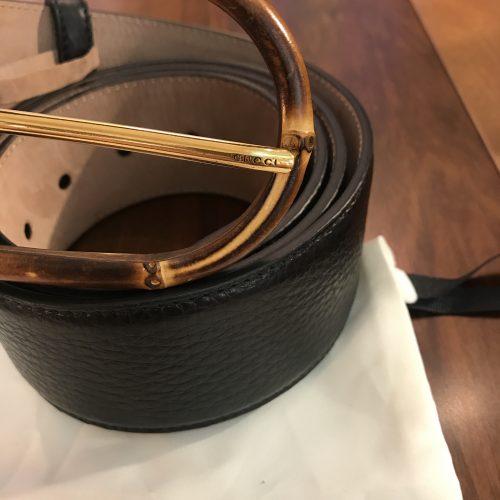 Gucci Cintura fibbia in Bamboo in Pelle Nera