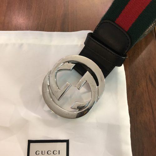 Gucci cintura Pelle nera e Nastro Web verde/rosso