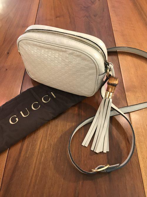Gucci Tracollina Pochette in Pelle bianca Microguccisima