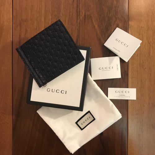 Gucci Portafoglio da Uomo in pelle Blu fantasia Microguccissima