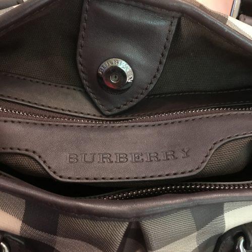 Burberry Bauletto con Tracolla in tela Check e profili in Pelle Marrone
